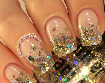 Million Dollar Gradient Nail Polish Gold Handmade Custom Glitter Topper Nail Polish Lacquer