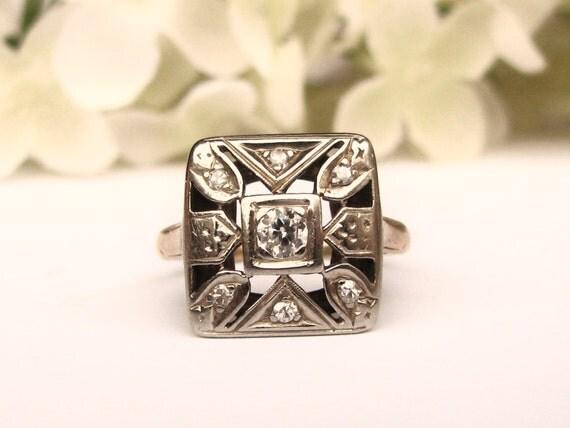 Art Deco Engagement Ring Unique Antique by LadyRoseVintageJewel
