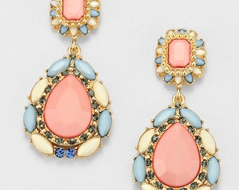 Statement Coral pink Earrings, Dangles, Peachy pink, blue christals, pastel tones, gift for her, Christmas gift.