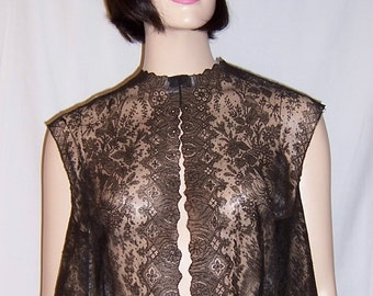 Black Chantilly Lace Sleeveless Bolero/Tunic