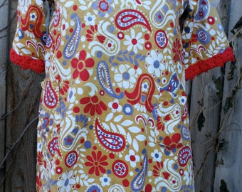 1960s Paisley mini smock dress cotton medium