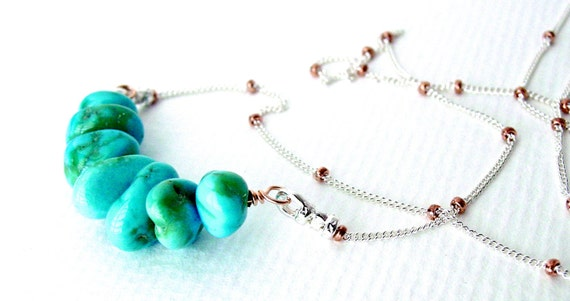 Sleeping Beauty Turquoise Necklace Silver and Rose