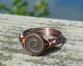 size 9 - antique Copper Spiral wire wrapped Ring - handmade metal beaded minimalist women men unisex simple swirl  jewelry bohemian swirl