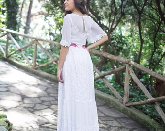 Gypsy Wedding Dress, SuzannaM Designs, White Wedding Dress, Lace Wedding Dress, Boho Bridal Dress, Long Wedding Dress, Boho Wedding, Michele