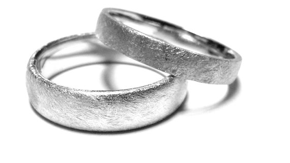 his and hers wedding bands scratches matte promise by