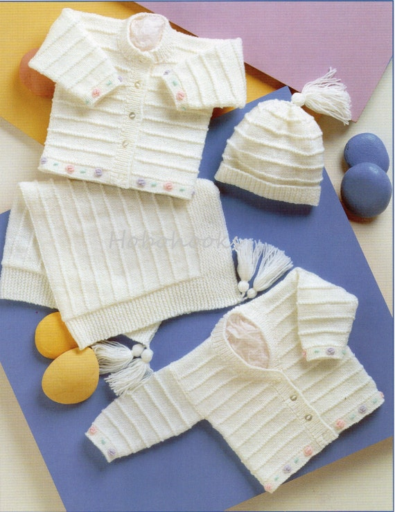 Knitting Pattern For Premature Baby Blanket : baby cardigans blanket hat knitting pattern pdf DK premature