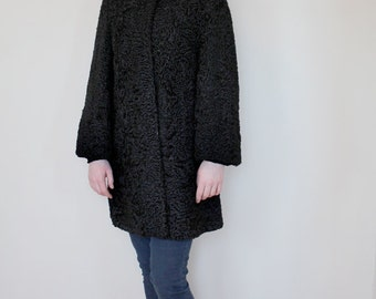 Vintage 1960s Womens Winter Swing Coat, Black, Persian Lamb, Fur Collar, Palmer