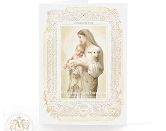 Madonna and child, French religious card, Easter card, Christmas card, Baptism card, blank inside
