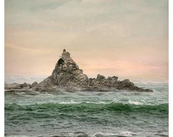 Ocean photography, Sea island print, Coastal Decor, large wall art, green sea oversized art print, Montenegro Landscape, 24x30, 11x14, 16x20
