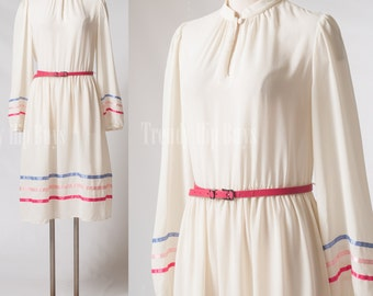 Vintage 70s Dress, Vintage Sheer dress, Vintage ivory dress, 70s secretary dress, Vintage cream dress - L/XL