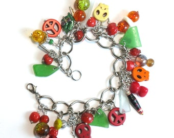 Rhode Island Green Sea Glass Charm Bracelet with Vibrant Charms, Stones, Glass, Czech Beads, Paper Beads on a Silver Plated Curb Chain