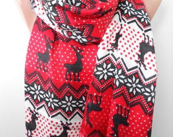 Nordic Scarf Deer Scarf Red Scarf Cowl Scarf Winter Scarf Women Holiday Fashion Accessories Gift Ideas For Her