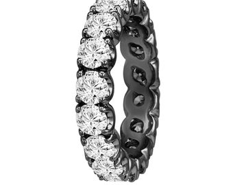 2.00 Carat Diamond Eternity Wedding Band, Eternity Ring, Anniversary Ring, 14K Black Gold Vintage Style Handmade Certified