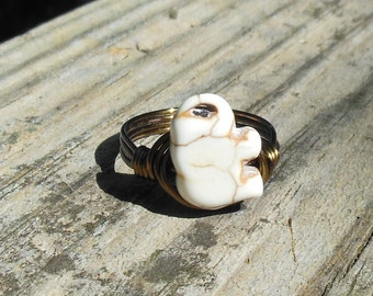 White Elephant Ring - size 5.25 5 1/4 - howlite stone gemstone - antique wire wrapped handmade rustic brass gold animal totem stone jewelry