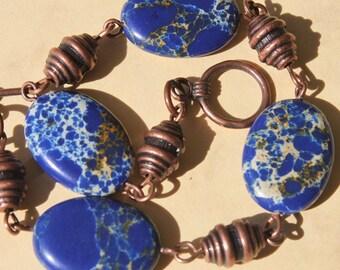 Navy Blue Bracelet Imperial Jasper Bracelet  Beaded Beadwork Bracelet  Earthy Bracelet Semi Precious Gem Stone Bracelet  Christmas gift