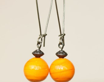 Orange Earrings Dangle Earrings Glass Earrings Long Earrings  Boho Chic Earrings