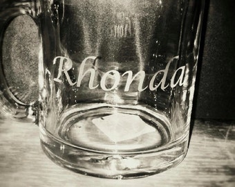 Hand etched CUSTOM coffee cup