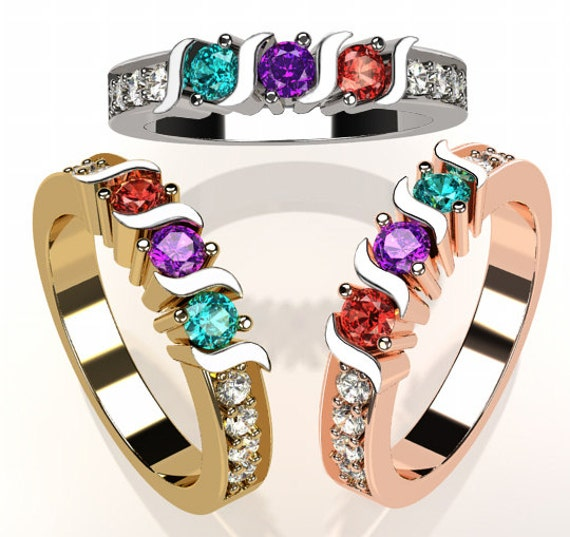 14k Personalized Mothers S Bar Ring Solid White Yellow Or Rose Gold  w/ 1 2 3 4 5 or 6 Birthstones And CZ Accents Family Jewelry