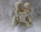 Vintage Snow Babies figurine, two angels reading with a penguin. Great for Christmas. Germany Home Decor, gift for her