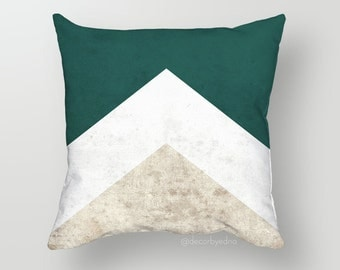 Green Triangle Chevron 18 x 18 Pillow Cover - One Pillow Cover with insert - Accent Pillow - Decorative Pillow - Throw Pillow Cover Case