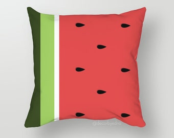 18 x 18 Pillow Cover - One Pillow Cover with insert - Accent Pillow - Decorative Pillow - Throw Pillow Cover Case Watermelon Pattern