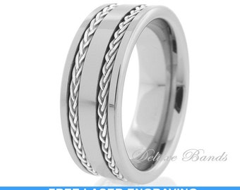 Tungsten Wedding Ring Double Groove Silver Braid 8mm Comfort Fit Tungsten Anniversary Ring Mens Womens Tungsten Wedding Band Free Engraving