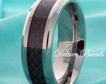 Titanium Ring Titanium Band Black Carbon Fiber Inlay Titanium Wedding Band Beveled Edges Mens Titanium Anniversary Ring Black Titanium Rings
