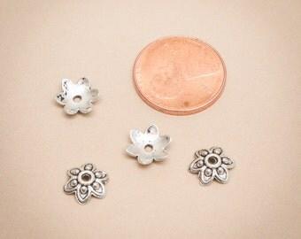 50 Pcs Antique Silver Bead Cap 9mm / Z068-50