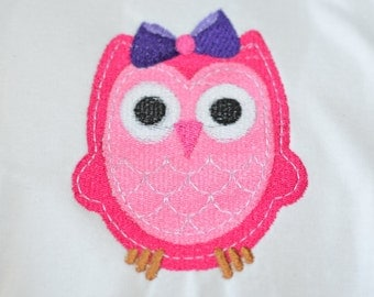FREE PERSONALIZATION Owl Shirt Baby Girl Owl Shirt Owl Onesie Owl Outfit Pink and Purple Owl Girl Owl Shirt Girl Birthday Embroidered Shirt