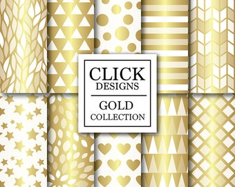 """Gold & White Digital Paper: """"WHITE GOLD"""" digital scrapbook papers with gold geometric elements, stars, hearts, triangles for invites, carts"""