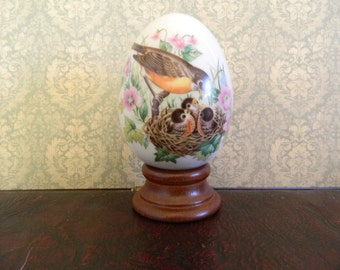 Avon Spring Egg With Robins And Wood Stand