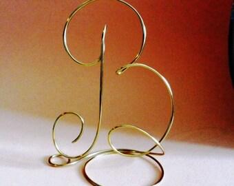 Wedding cake topper, Alphabet Letter Monogram Silver and Gold Any Letter A B C D E F G H I J K L M N O P Q R S T U V W X Y Z