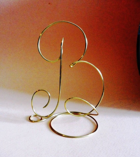 wedding cake topper alphabet letter monogram silver and gold