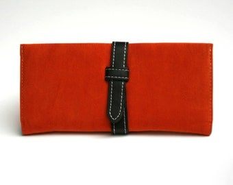 Womens Orange Wallet,  Orange Leather, Leather Wallet, Womens Wallet