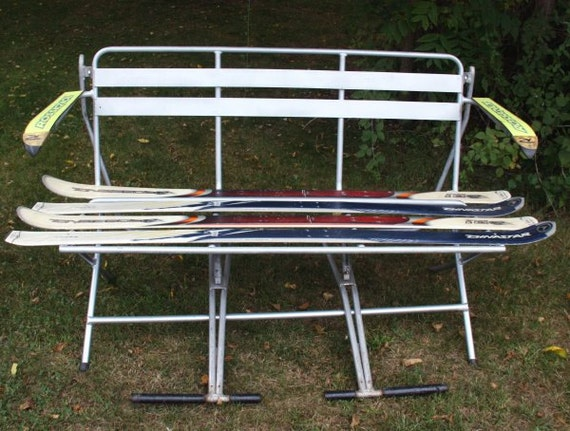 Repurposed ski lift chair bench by dasbullihaus on etsy