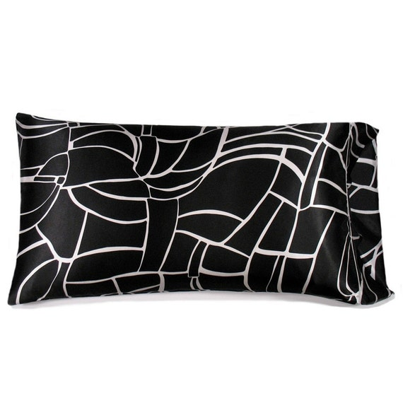 Satin Pillowcase King Size. Black And White. By