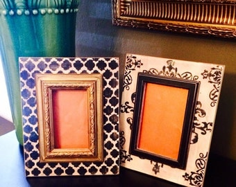 Set of Two Distressed Frames in Black & Cream with a Splash of Gold --Quatrefoil and Damask Pattern