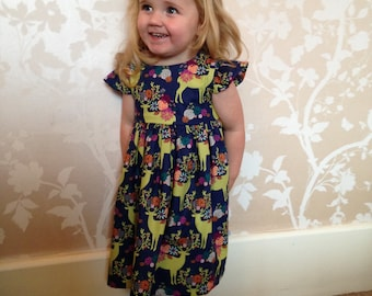 Stag Dress in Michael Miller Fabric