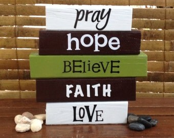FAITH wood word block set for home decor and decoration...
