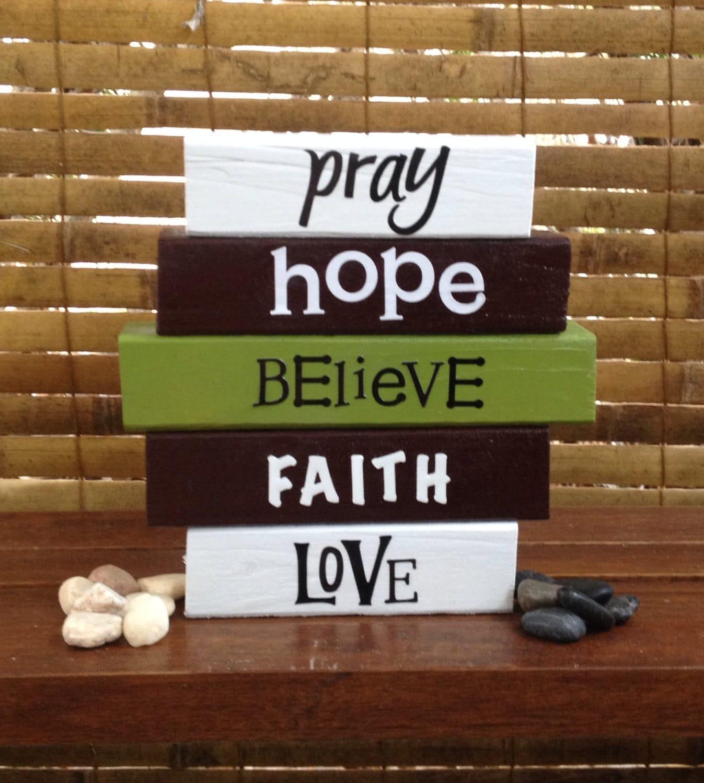 Faith wood word block set for home decor and decoration for Faith decor