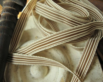 2 Yards - Mocha and Cream Ticking Stripe Ribbon