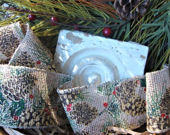 SALE - Rustic Pine Cone and Holly Ribbon