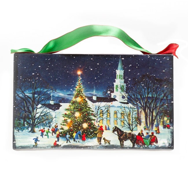 Christmas Wall Scene Decorations : Thomas kinkade christmas wall art winter s home decor