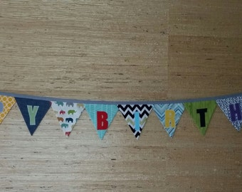 Reversible Happy Birthday Bunting/Banner