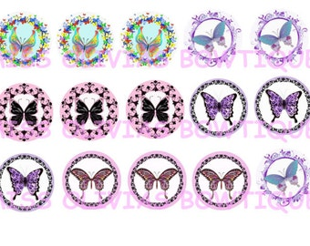 15 Digital 1 inch Custom Butterfly Bottle Cap images (print your own) Instant Digital Download