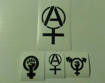 4 Decal set : 1 Large Anarcha Feminist  + 3 Assorted Feminism Decals. Feminism, Trans-Feminism, & Anarcha Feminist Vinyl Decals