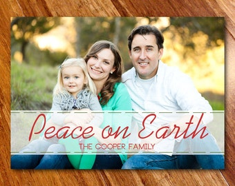 Holiday Photo Announcement, Custom Christmas Card // Peace on Earth