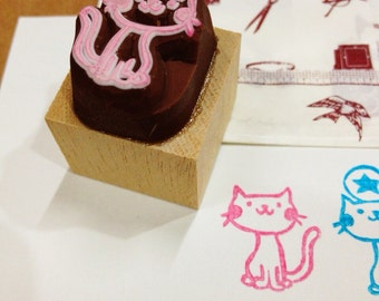 cat hand carved rubber stamp.cat rubber stamp.cat stamp.kitten stamp