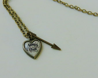 Heart and Arrow Necklace - Love Necklace - Arrow Necklace - Heart Necklace - Antique Necklace - Handmade Jewelry - Handmade Necklace