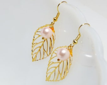 leaf earrings pearl earrings gold leaf with pearl earrings